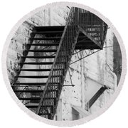 Black And White Fire Escape Usa Near Infrared Round Beach Towel