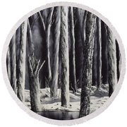 Black And White Forest Round Beach Towel
