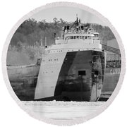 Black And White Freighter Round Beach Towel
