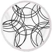 Black And White Hoops Round Beach Towel