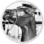 Black And White Horse Head Round Beach Towel