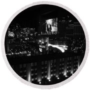 Black And White In Vegas Round Beach Towel