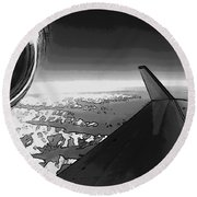 Jet Pop Art Plane Black And White  Round Beach Towel