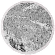 Black And White Lake Tahoe California Covered In Snow During The Winter Round Beach Towel