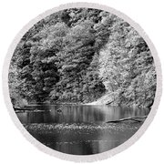 Black And White Landscape Round Beach Towel