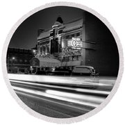 Black And White Light Painting Old City Prime Round Beach Towel