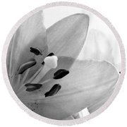 Black And White Lilies Round Beach Towel