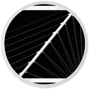 Black And White Lines Round Beach Towel