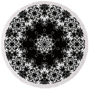 Black And White Medallion 1 Round Beach Towel