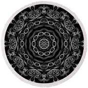 Black And White Medallion 2 Round Beach Towel