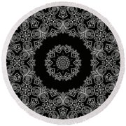 Black And White Medallion 6 Round Beach Towel