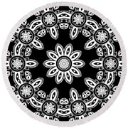 Black And White Medallion 8 Round Beach Towel