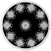 Black And White Medallion 9 Round Beach Towel