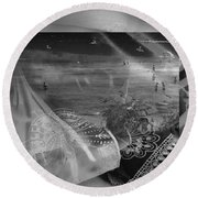 Black And White Moments Round Beach Towel