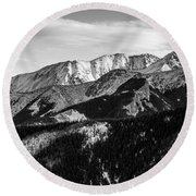 Black And White Mountains Round Beach Towel