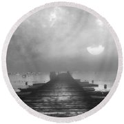 Black And White Mystery- From The Moon To The Mist Round Beach Towel