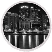 Black And White Night In Pa Round Beach Towel