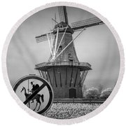 Black And White No Tilting At Windmills Round Beach Towel
