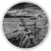 Black And White Photo Of A Wood Fence At The John Moulton Farm Round Beach Towel