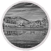 Black And White Photo Of Long Pond Acadia National Park Maine Round Beach Towel