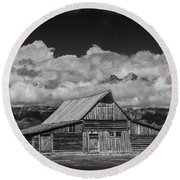Black And White Photo Of The T.a. Moulton Barn In The Grand Tetons Round Beach Towel