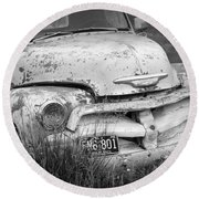 Black And White Photograph A Vintage Junk Chevy Pickup Truck Round Beach Towel