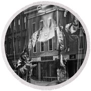 Black And White Photograph Of A Mannequin In Lingerie In Storefront Window Display  Round Beach Towel