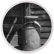 Black And White Photograph Of Vintage Creamery Can By The Old Homestead In 1880 Town Round Beach Towel