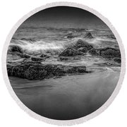 Black And White Photograph Of Waves Crashing On The Shore At Sand Beach Round Beach Towel