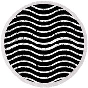 Black And White Postage Round Beach Towel