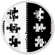 Black And White Puzzles Digital Painting Round Beach Towel