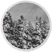 Black And White Snow Covered Trees Round Beach Towel