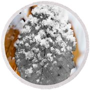 Black And White Snow Leaf Round Beach Towel