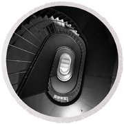 Black And White Spiral Staircaise Round Beach Towel