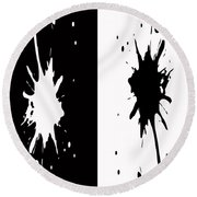 Black And White Splashes Digital Painting Round Beach Towel