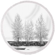Black And White Square Diptych Tree 12-7693 Set 1 Of 2 Round Beach Towel