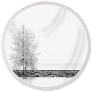 Black And White Square Diptych Tree 12-7693 Set 2 Of 2 Round Beach Towel