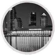 Black And White Tampa Night Round Beach Towel