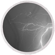 Black And White Tropical Thunderstorm Night  Round Beach Towel
