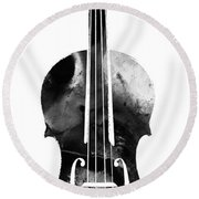 Black And White Violin Art By Sharon Cummings Round Beach Towel