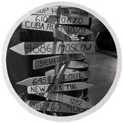 Black And White World Directions Round Beach Towel