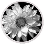 Black And White Zennia Round Beach Towel
