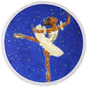 Black Ballerina Round Beach Towel