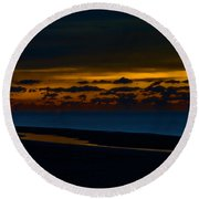 Black Beach With Orange Sky Round Beach Towel