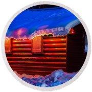 Black Bear Cabin Round Beach Towel