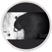 Black Bear Profile Round Beach Towel
