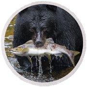 Black Bear With Salmon Round Beach Towel