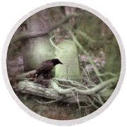 Black Bird In Forgotten Graveyard Round Beach Towel