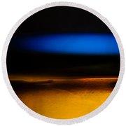 Black Blue Yellow Round Beach Towel