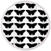 Black Butterflies Round Beach Towel